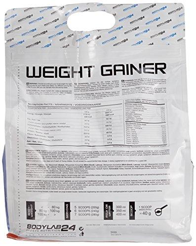 Bodylab24 Weight Gainer Banane, ideales Verhältnis aus Kohlenhydraten und Eiweiß, über 1000kcal je Portion, 4.8 kg