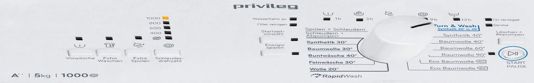 Privileg-PWT-A51052-Toplader-WaschmaschineA-5-kg-1000-UpMStartzeitvorwahlExtra-WaschenExtra-SplenWolle-ProgrammRapidWash-Programme-unter-59-Minuten