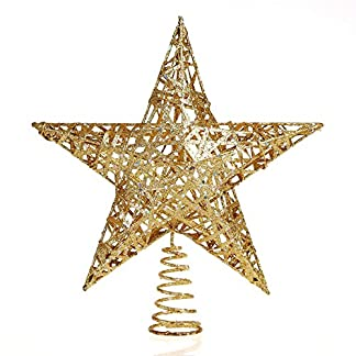 Weihnachtsbaum-Stern-Weihnachtsbaumspitze-Christbaumspitze-Glitzernd-Glnzend-30cm-Gold-Spitze-Aufstecker-fr-Tannenbaum-Dekoration-Ornament