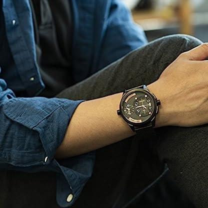 Armbanduhr-Mnner-Mesh-Edelstahl-band-SIBOSUN-Japanisches-Quarzwerk-wasserdicht-doppelte-Bewegung-groes-Zifferblatt