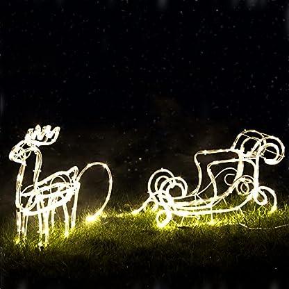 Pridea-LED-Rentierschlitten-110cm-l-200-warmweisse-Micro-LEDs-l-Schlitten-mit-Rentier-I-nur-4-WattStd