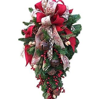FunPa-Teardrop-Trkranz-Weihnachten-Wandschmuck-mit-Zapfen-rote-Beeren-Bell-Creative-Ribbon-Christbaumkugel-Fr-Haus-und-Hochzeit-Wandkranz-Tischkranz-Wanddeko-fr-Weihnachten-Tr-Swag-Dekoration