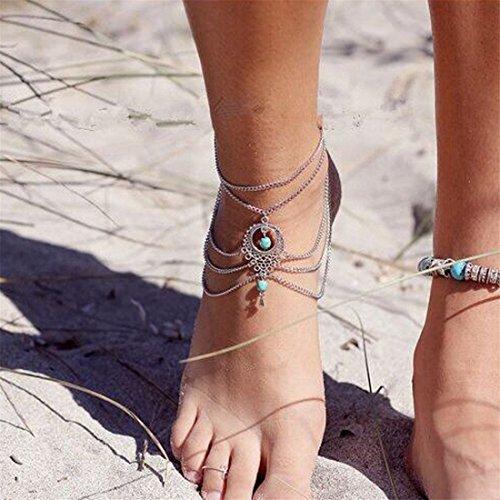 Elistelle 1pcs silber Hohle Wassertropfen türkis Strand Fußkettchen Fuß Verzierungen