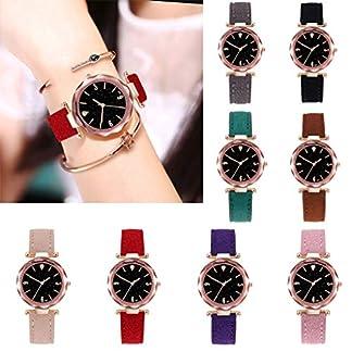 SO-buts-Frauen-SmartwatchLssige-Analog-Uhren-Armband-Mit-LederMode-Sterne-Sky-Dame-WatchLuxus-Quarz-UhrD01-B