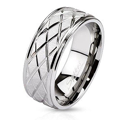viva adorno® Damen & Herren Edelstahl Ring Partnerring teils matt poliert mit Rauten Schliff RS56