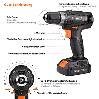 Tacklife-PCD05B-Akku-BohrschrauberAkkuschrauber-18V-mit-LED-Licht-2-Li-Ion-Akkus-20Ah-Max-Drehmoment-30Nm-191-Drehmomentstufen-2-Gang-Bohrfutter-Spannbereich-10mm-43-tlg-Zubehr-Set