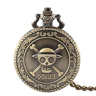 Herren-Taschenuhr-Full-Hunter-Fashion-One-Piece-Skull-Quarz-Taschenuhr-Kette-Geschenk-fr-Mnner