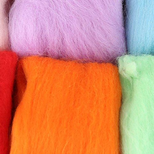 15 Farben Filzwolle & Filznadeln für trocken Filzen Trockenfilzen Nadelfilzen Nadelhalter Filznadelhalter Starterset Basteln DIY