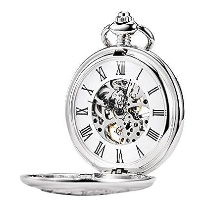 TREEWETO-taschenuhr-mit-kette-herren-silber-einhorn-kylin-rmische-ziffern-retro-uhr-taschenuhren-mechanisch-pocket-watch