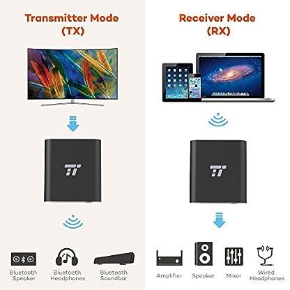 TaoTronics-Bluetooth-Adapter-50-Bluetooth-Transmitter-und-Empfnger-2-in-1-Bluetooth-Sender-20m-Reichweite-mit-35mm-Kabel-und-RCA-Kabelloser-Audioadapter-aptX-LL-mit-2-Gerten-verbinden