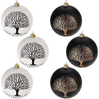 Multistore-2002-6-Stck-Weihnachtskugeln-10cm-2-Sorten-Schwarz-und-Wei-Glaskugeln-Weihnachtsbaumkugeln-Christbaumkugeln-Christbaumschmuck-Baumschmuck-Dekokugeln