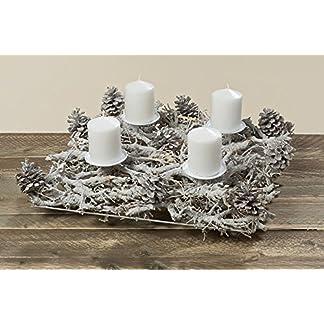 Bella-Vita-GmbH-Weihnachtsdekoration-Adventskranz-Kerzenleuchter-Elfin-Natur-Weiss-grau