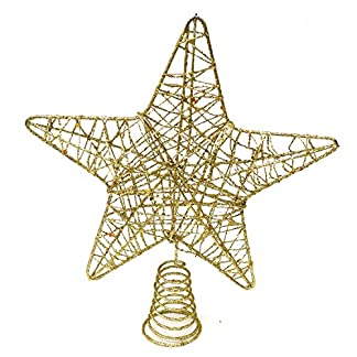 Weihnachtsstern-Baumspitze-Weihnachtsbaum-Spitze-5-Punkt-Stern-Christbaumspitze-Gold-Metall-20cm-Tannenbaumspitze-Toppers-Baumschmuck-elegant-Glitzer-Weihnachtsdeko-Party-Weihnachten
