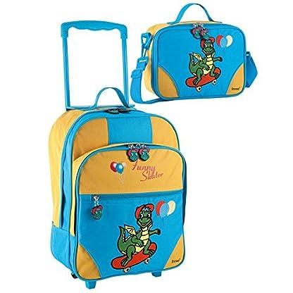 2-tlg-Kinderset-Trolley-und-Reisetasche-mit-Drachenmotiv