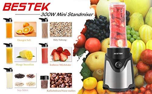 BESTEK-Smoothie-Maker-Mini-Standmixer-mit-4-Fach-Edelstahlmesser-300-Watt-Edelstahl