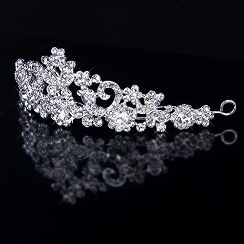 WINOMO Hochzeit Braut Prom Crystal Strass Schmetterling Blume Krone Stirnband Tiara (Silber)