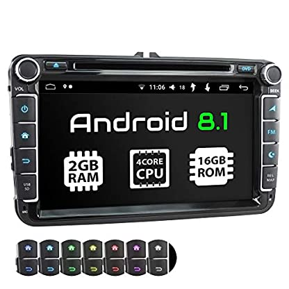 XOMAX-XM-11GA-Autoradio-passend-fr-VW-SEAT-Skoda-mit-Android-81-I-4Core-I-GPS-Navigation-I-DVD-CD-USB-SD-I-Support-WiFi-4G-DAB-OBD2-I-Bluetooth-I-8-Zoll-203-cm-Touchscreen