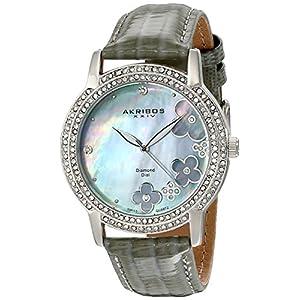 Akribos-XXIV-Damen-Lux-Lady-Diamond-Swiss-Quartz-Uhr-mit-Lederband