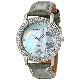 Akribos-XXIV-Damen-Lux-Lady-Diamond-Swiss-Quartz-Uhr-mit-Lederband