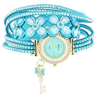 Souarts-Damen-Armbanduhr-Blumen-Form-Band-Deko-Quarz-Uhr-mit-Batterie-Charm-Geschenk-Hellblau