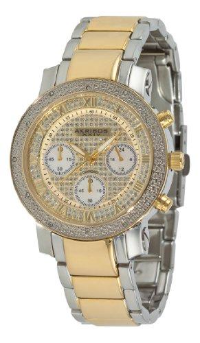 Akribos-XXIV-Damen-der-grandiosen-Dazzling-Diamant-Chronograph-mit-Edelstahl-Armband