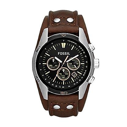 Fossil-Herren-Armbanduhr-wasserdicht-Coachman-mit-braunem-Lederarmband-schwarzem-Ziffernblatt-Lederband-Uhr-mit-Chronographen-Funktion-Datumsanzeige-Tachymeter