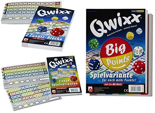 Nrnberger-Spielkarten-Set-Qwixx-Zusatzblcke-4016-Qwixx-Gemixxt-4033-Qwixx-Big-Points-4039-jeweils-im-2er-Pack