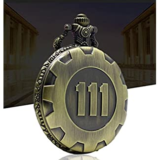 Yonsenner-Bronze-Taschenuhr-Retro-Quarz-Kette-Taschenuhr-Fallout-4-Thema-Anhnger-Vault-111
