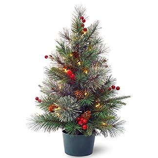 National-Tree-PECO1-300-20-B1-Baum-mit-Kegeln-roten-Beeren-und-35-warmweien-batteriebetriebenen-Lichtern