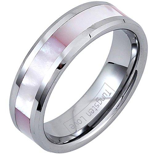 JewelryWe Schmuck Damen Breit 6MM Wolfram Wolframcarbid Ring Band Glänzend mit Synthetisch Rosa Muscheln Shell Inlay Engagement Hochzeit, Silber, Größe 47 bis 70