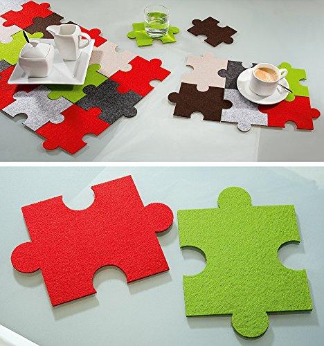Filz Untersetzer Puzzle, 6er Set 3xgrün 3xrot, waschbar, Filzuntersetzer, Gilde Handwerk