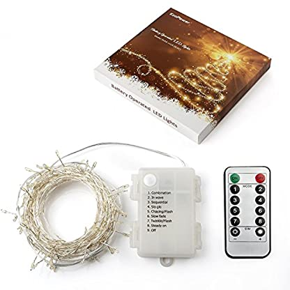 Fernbedienung-und-Timer-KooPower-100er-LED-Outdoor-Lichterkette-mit-6M-Flexible-Silberdraht-Batterienbetrieben-8-Modi-IP65-Wasserdicht-Auenbeleuchtung-Warmwei