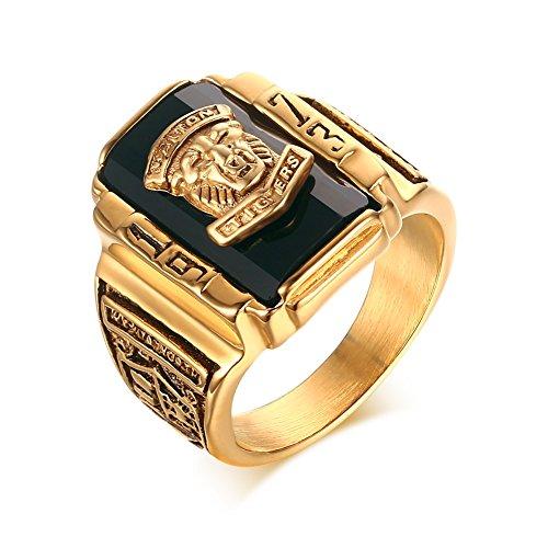 Vnox Herren Edelstahl 1973 Walton High School Klasse Signet Band Ringe Schwarz Gold