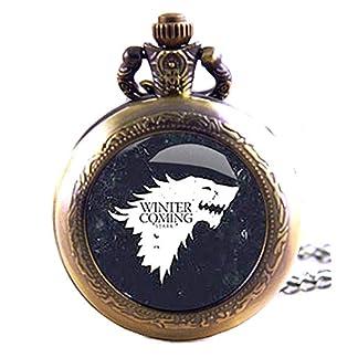 Geschenkbox-Game-of-Thrones-Winter-is-Coming-antik-bronzefarben-Gravur-Quarz-TaschenuhrKettenuhr