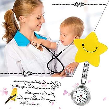 LANCARDO-Uhren-Krankenschwester-Armbanduhr-FOB-Uhr-Damen-Pentagramm-Stern-Taschenuhr-Analog-Quarzuhr-aus-Legierung