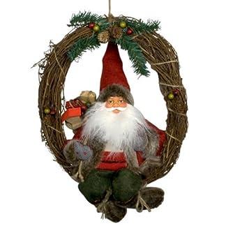Weihnachtsmann-KLAUS-30-cm-Trkranz-Weihnachten-sitzend-Kranz-Deko-rot-NEU