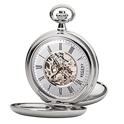 Regent-Taschenuhr-Mechanisch-Silber-Skelett-P93