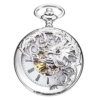 Mechanische-Taschenuhr-Dream-Dragon-ManChDa-Skeleton-White-Dial-Silber-Doppel-Kasten-mit-Kette-Geschenkbox