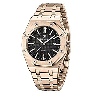 BERSIGAR-Herrenuhren-Mode-Schwer-Metall-Stil-Sport-Quarz-Edelstahl-Wasserdicht-Armbanduhr