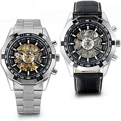 JewelryWe-Herren-Armbanduhr-Analog-Quarz-Fashion-Business-Casual-Handaufzug-mechanische-Uhr-mit-Edelstahl-Leder-Armband-Schwarz-Bezel-Skelett-Zifferblatt