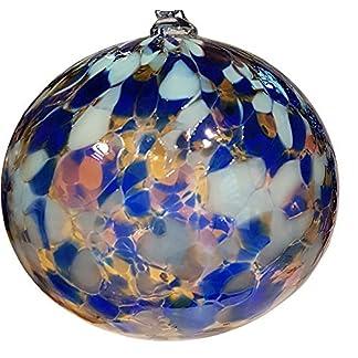 Oberstdorfer-Glashtte-Kugel-zum-hngen-Bunte-Glaskugel-Ornament-blau-bunt-Fensterdekoration-mundgeblasenes-Kristallglas-Durchmesser-ca11-cm