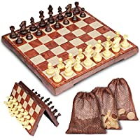 Muscccm-Schachspiel-Schachspiel-mit-Aufbewahrungsbeutel-Magnetischem-Einklappbar-Schachspiel-fr-Kinder-Geburtstag