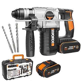 Worx-WX392-Akku-Bohrhammer-20V-Profi-Werkzeug-3-in-1-Bohrer-Hammerbohrer-und-Meiel-Rechts-und-linksdrehend-und-mit-SDS-Plus-Schnellspannbohrfutter-PowerShare-kompatibel