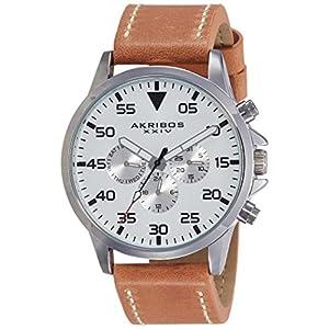 Akribos-XXIV-Herren-Armbanduhr-MenS-Schweizer-Quarz-Leather-Strap-Watch-Analog-Quarz-AK773SSBR