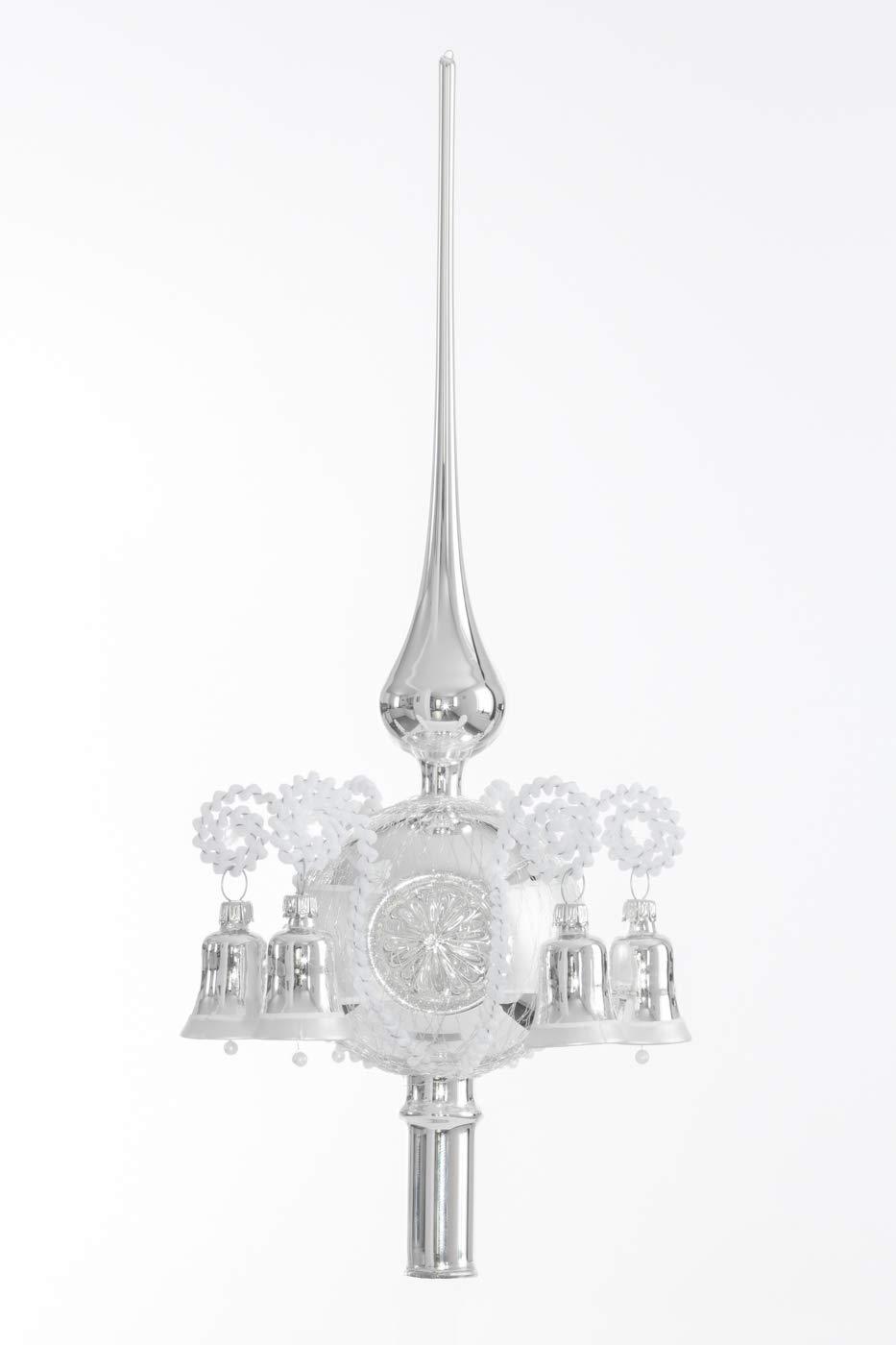 Christbaumspitze-mit-Reflex-und-6-Glckchen-Silber-Lauscha-mundgeblasen-und-handdbemalt