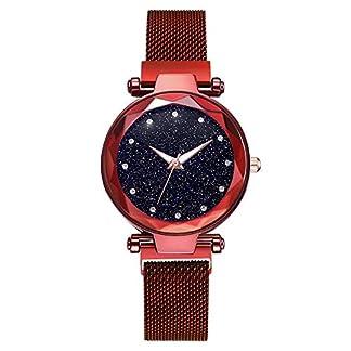 Souarts-Damen-Armbanduhr-Frauen-Analog-Quarzuhr-Mesh-Magnet-Metallarmband-Sternhimmel-Muster-Zifferblatt-Uhren