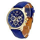 UNNSEAN-UhrUnisex-Casual-Genf-Kunstleder-Quarz-Analog-Armbanduhr-Uhren-Runde-Multifunktional-Chronograph-Mode-Klassisch-Beilufig-Armbanduhren