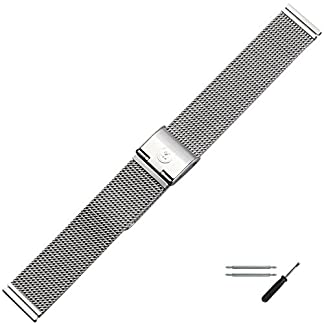 MARBURGER-Unisex-Uhrenarmband-18mm-Edelstahl-Silber-Mesh-Milanaise-Ersatzarmband-Schliee-Silber-84904180020