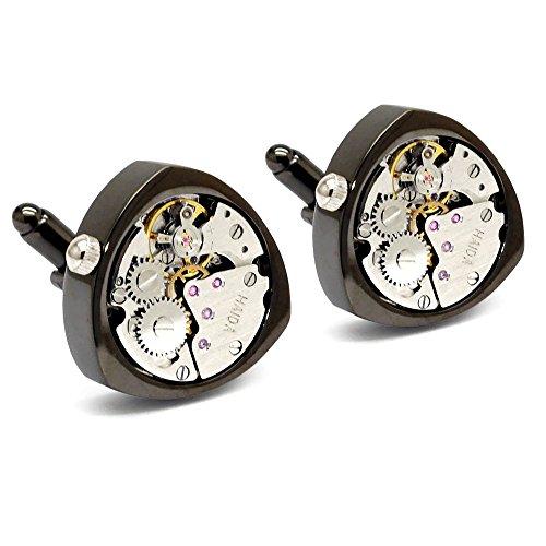 Honey Bear 1 Paar Herren Manschettenknöpfe Cufflinks Steampunk Uhrwerk Bewegung beweglich Edelstahl für Geschäftshochzeits geschenk mit Kasten,Dreieck