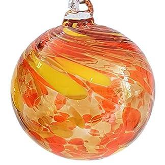 Oberstdorfer-Glashtte-Kugel-zum-hngen-Bunte-Glaskugel-gelb-orange-mundgeblasenes-Kristallglas-Fensterdekoration-Durchmesser-ca-11-cm